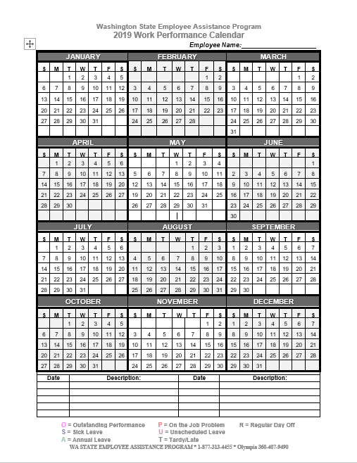 2019 Work Performance Calendar