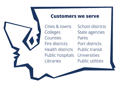 Customers we serve: Cities & towns, colleges & universities, counties, health districts, hospitals, libraries, school districts, port districts, state agencies, other public agencies - such as parks, public utilities, fire districts and public transit authorities/districts