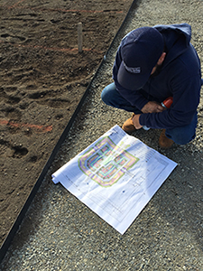 A Buildings & Grounds employee studies the planting plan before marking the ground with spraypaint.