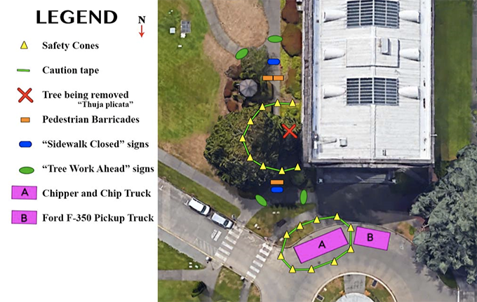 Map of the tree work area planned for Dec. 4, 2019, on the NorthEast corner of the Insurance Building.