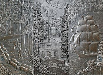 Carved bronze doors on the Legislative Building with a school, farmers, a tall ship and other Northwest scenes.